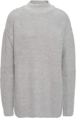 MICHAEL Michael Kors Crystal-embellished Metallic Ribbed-knit Sweater