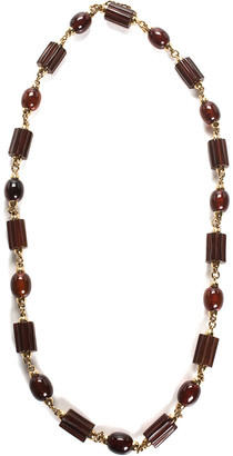 Dolce & Gabbana Gold-Tone & Brown Glass Bead Necklace