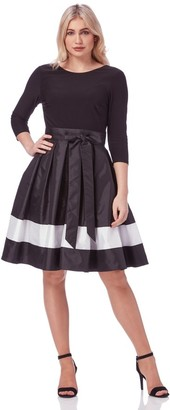M&Co Roman Originals contrast fit and flare dress with belt