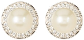 ADORNIA Sterling Silver 9mm Freshwater Pearl Swarovski Crystal Accented Halo Stud Earrings