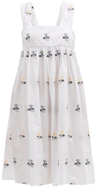 Cecilie Bahnsen Pandora Bow-back Floral-jacquard Dress - White Multi