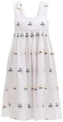 Cecilie Bahnsen Pandora Bow-back Floral-jacquard Dress - White Multi