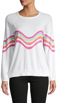 Whisper By Brodie Wavy Stripe-Print Cotton-Blend Sweater