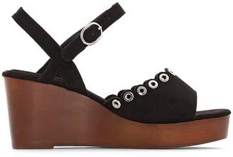 Castaluna Plus Size Wide Fit Wood Effect Wedge Sandals