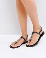 Oasis Leather Metal Link Toepost Sandal