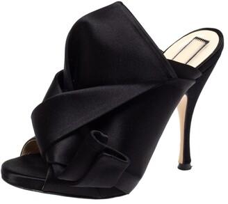 N°21 N21 Black Satin Raso Knot Peep Toe Mules Size 37
