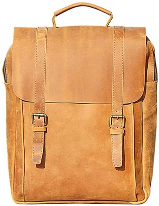 Touri 16'' Genuine Leather Backpack In Tannish Brown