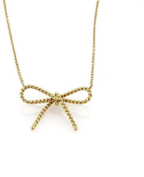 Tiffany & Co. 18k Yellow Gold Twisted Cable Wire Bow Pendant Necklace