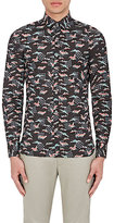 Lanvin Men's Crane-Print Cotton Poplin Shirt