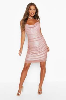 boohoo Petite Mesh Ruched Detail Mini Dress