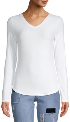 No Boundaries Juniors' Brushed Long Sleeve V-neck T-Shirt