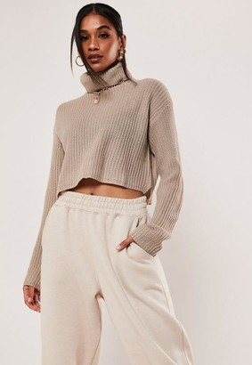 Missguided Stone Turtle Neck Cropped Sweater