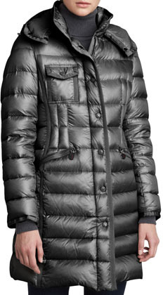 Moncler Hooded Long Puffer Coat, Charcoal