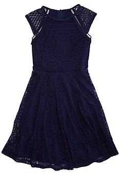 Us Angels Girls' Cap-Sleeve Lace Dress, Big Kid - 100% Exclusive