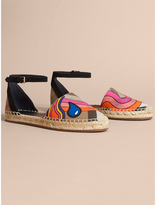 Burberry Rainbow Print House Check and Suede Espadrille Sandals