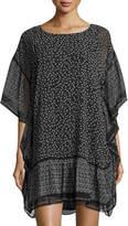 Max Studio Printed Crimped Shirting Dress, Black/White
