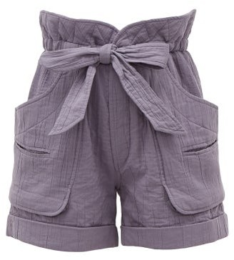 Etoile Isabel Marant Belize High-rise Belted Cotton-blend Shorts - Indigo