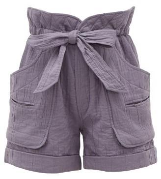 Etoile Isabel Marant Belize High-rise Belted Cotton-blend Shorts - Womens - Indigo