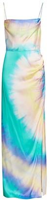 retrofete Marlene Tie-Dye Silk-Blend Gown