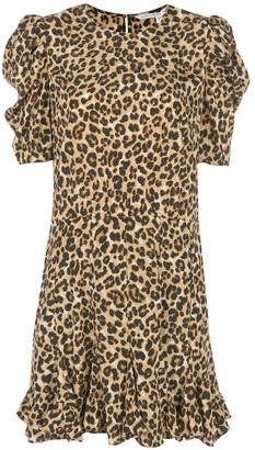 Veronica Beard Ruffled Hem Leopard Print Dress