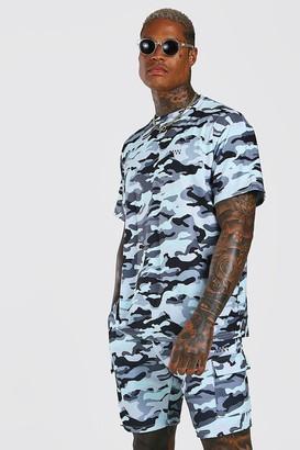 boohoo Mens Blue Loose Fit Camo Cargo T-Shirt & Short Set, Blue