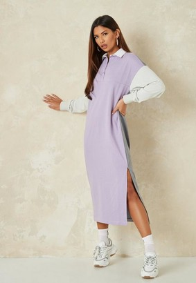Missguided Grey Color Block Rugby Shirt Dress
