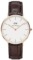 Daniel Wellington Classic York Rose Gold and Embossed Leather Strap Watch, 36mm