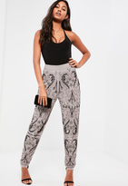 Missguided Grey All Over Embellished Paisley Cigarette Trousers