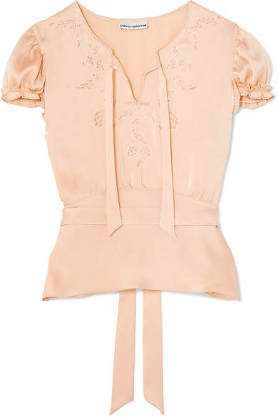 Paco Rabanne Lace-trimmed Satin Blouse - Peach