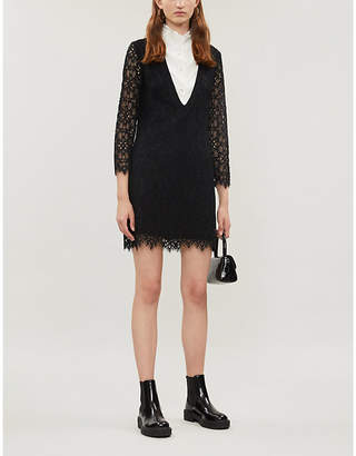Sandro Shirt-underlay stretch-lace and crepe dress