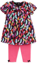 Baby Starters Black & Pink Feather Top & Leggings - Infant