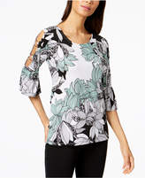 JM Collection Printed Ring-Detailed Cutout Ruffle-Sleeved Top, Created for Macy's