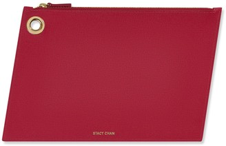 Stacy Chan London Large Ava Pouch In Fuchsia Saffiano Leather