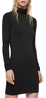 AllSaints Esme Shimmer Turtleneck Dress
