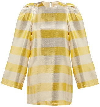 By. Bonnie Young - Striped Silk-blend Lame Dress - Womens - Metallic