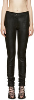 Ann Demeulemeester Black Textured Leather Trousers