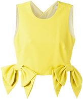 MSGM cropped bow detail top - women - Cotton/Polyamide/Polyester/Spandex/Elastane - 38