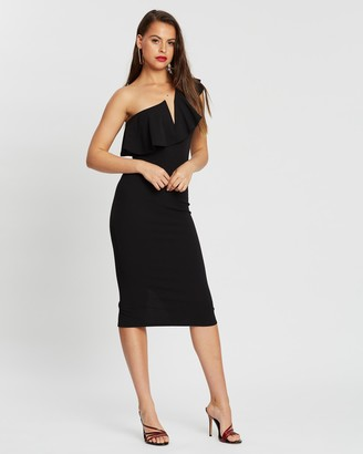Missguided One-Shoulder Frill Body-Con Midi Dress