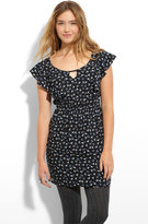 Bow Print Flutter Sleeve Dress (Juniors)