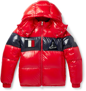 Moncler Slim-Fit Striped Quilted Glossed-Nylon Hooded Down Jacket - Men - Red