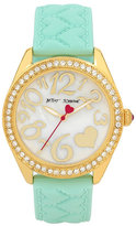 Betsey Johnson Quilted Heart Silicone Strap Mint Watch
