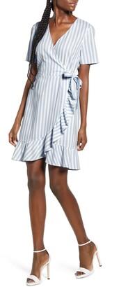 Vero Moda Helenmilo Stripe Wrap Linen Blend Dress