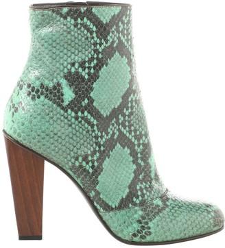 Dries Van Noten Green Water snake Ankle boots