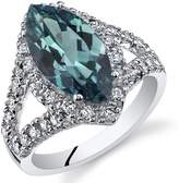 Ice 3 1/2 CT TW Simulated Alexandrite Sterling Silver Fashion Ring with CZ Accents