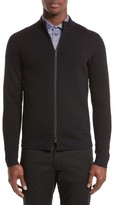 Armani Collezioni Men's Full Zip Jacquard Sweater