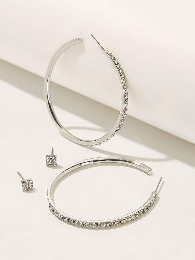 Shein Rhinestone Engraved Oversized Hoop & Stud Earrings 2pairs