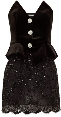 Alessandra Rich Velvet-bodice Sequinned-skirt Mini Dress - Womens - Black