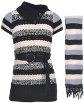 "Chillipop Dollhouse Little Girls' ""Marbled Stripe"" Sweater Dress with Scarf"