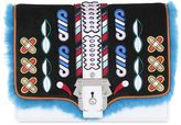 Paula Cademartori Tatiana Leather Bag W/ Embroidery & Fur
