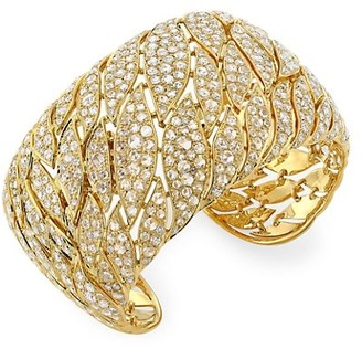 Maria Canale Petal 18K Yellow Gold & Diamond Pave Wide Cuff Bracelet